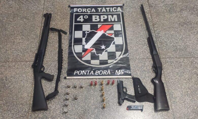 Força Tática do 4º BPM apreende 3 armas de fogo e munições |
