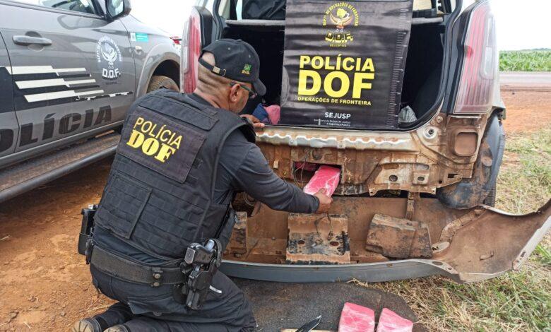 Veículo que seguia para Amambai com pasta base de cocaína foi apreendido pelo DOF durante a Operação Hórus |