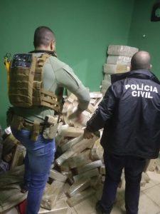 Policiais civis localizam quase uma tonelada de maconha em imóvel na cidade de Ponta Porã