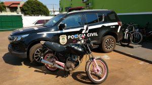 Foto de Naviraí – Motocicleta adquirida por meio de estelionato é recuperada pela Polícia Civil