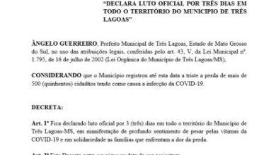 Foto de Prefeito Angelo Guerreiro declara luto oficial de 3 dias pelas 500 mortes causadas pela Covid-19 em Três Lagoas